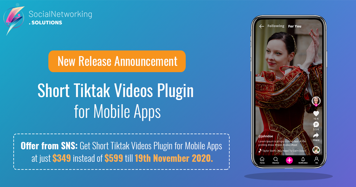 New Release Announcement – Short Tiktak Videos Plugin for Mobile Apps
